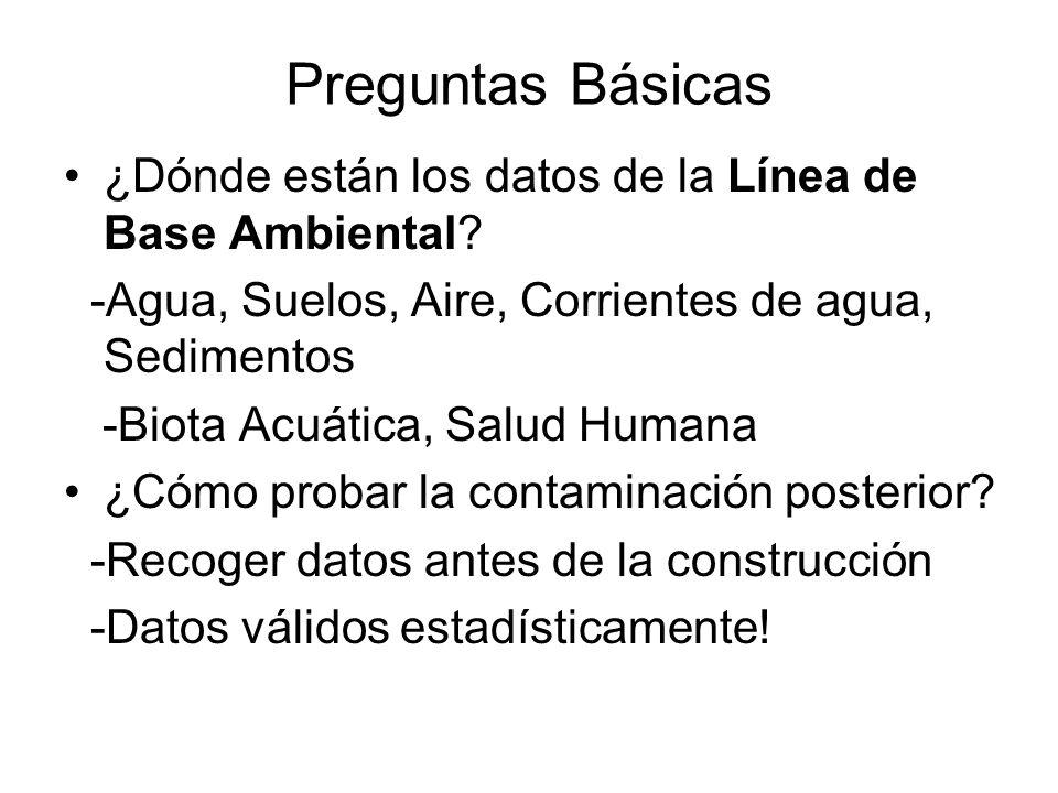 Preguntas Básicas ¿Dónde están los datos de la Línea de Base Ambiental -Agua, Suelos, Aire, Corrientes de agua, Sedimentos.