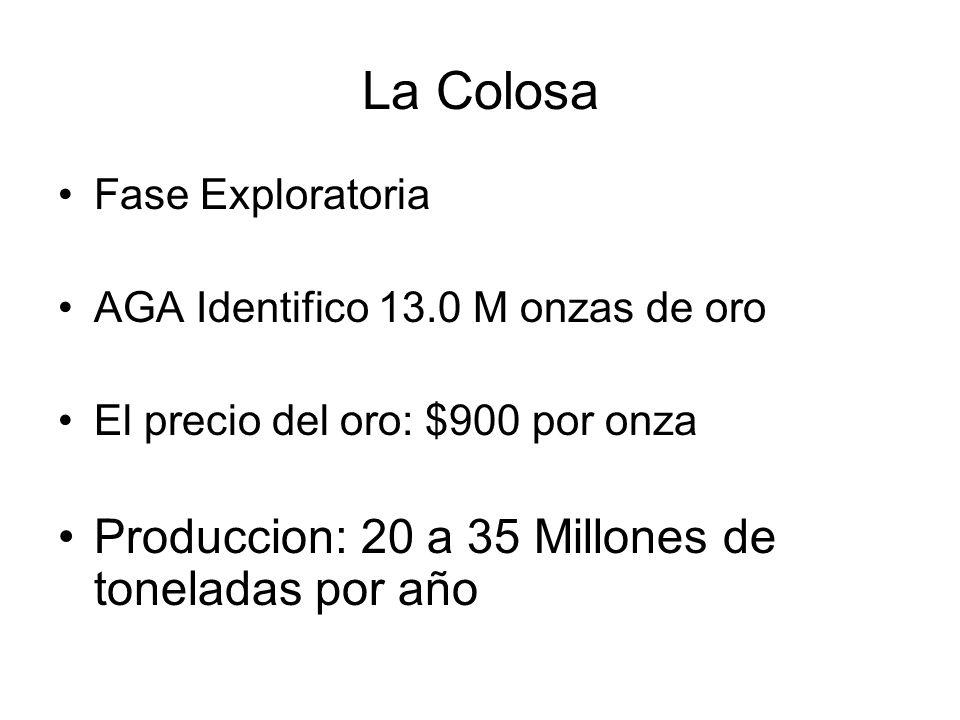La Colosa Produccion: 20 a 35 Millones de toneladas por año