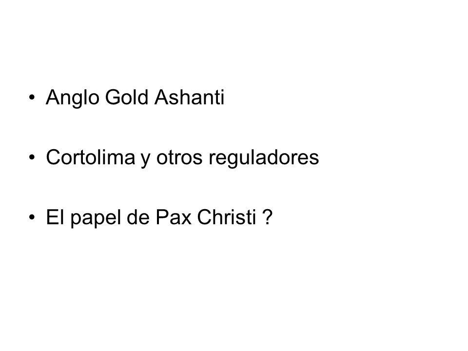 Anglo Gold Ashanti Cortolima y otros reguladores El papel de Pax Christi