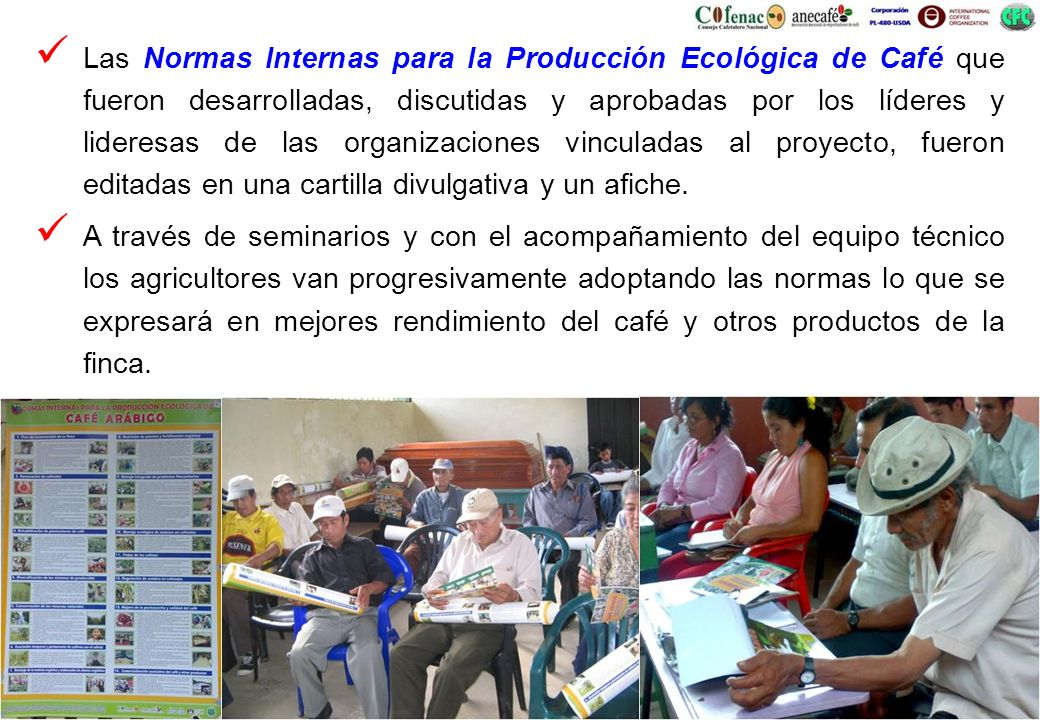 Las Normas Internas para la Producción Ecológica de Café que fueron desarrolladas, discutidas y aprobadas por los líderes y lideresas de las organizaciones vinculadas al proyecto, fueron editadas en una cartilla divulgativa y un afiche.