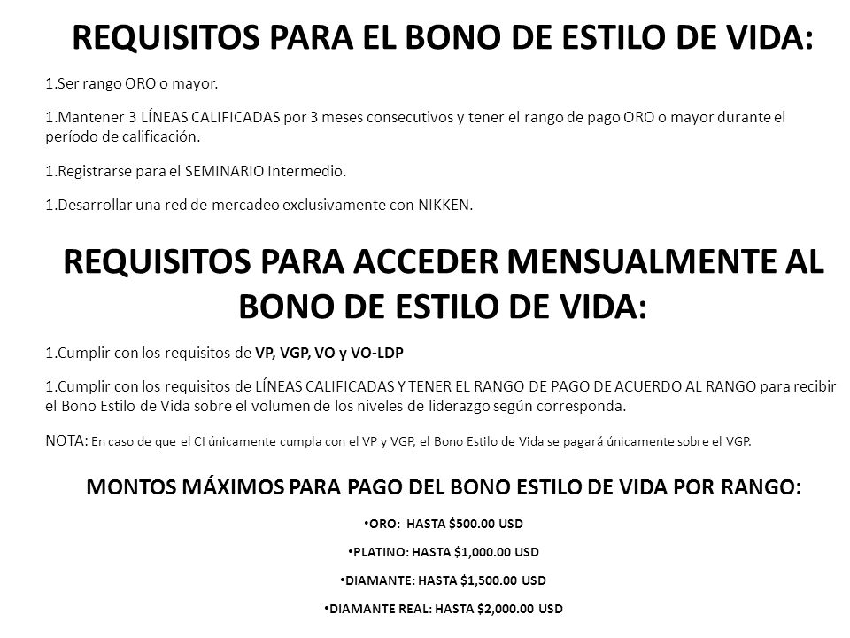 REQUISITOS PARA EL BONO DE ESTILO DE VIDA: