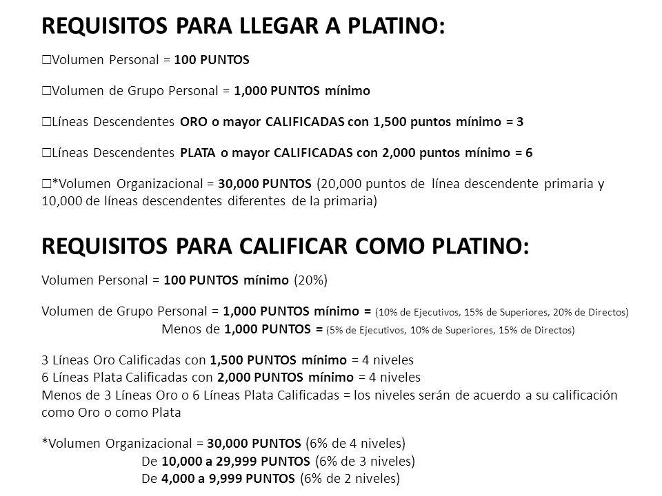 REQUISITOS PARA LLEGAR A PLATINO: