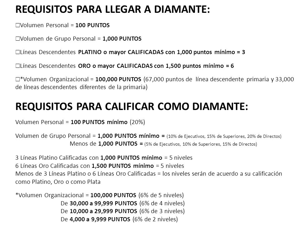 REQUISITOS PARA LLEGAR A DIAMANTE: