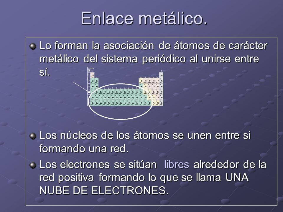 Enlace metálico.Lo forman la asociación de átomos de carácter metálico del sistema periódico al unirse entre sí.