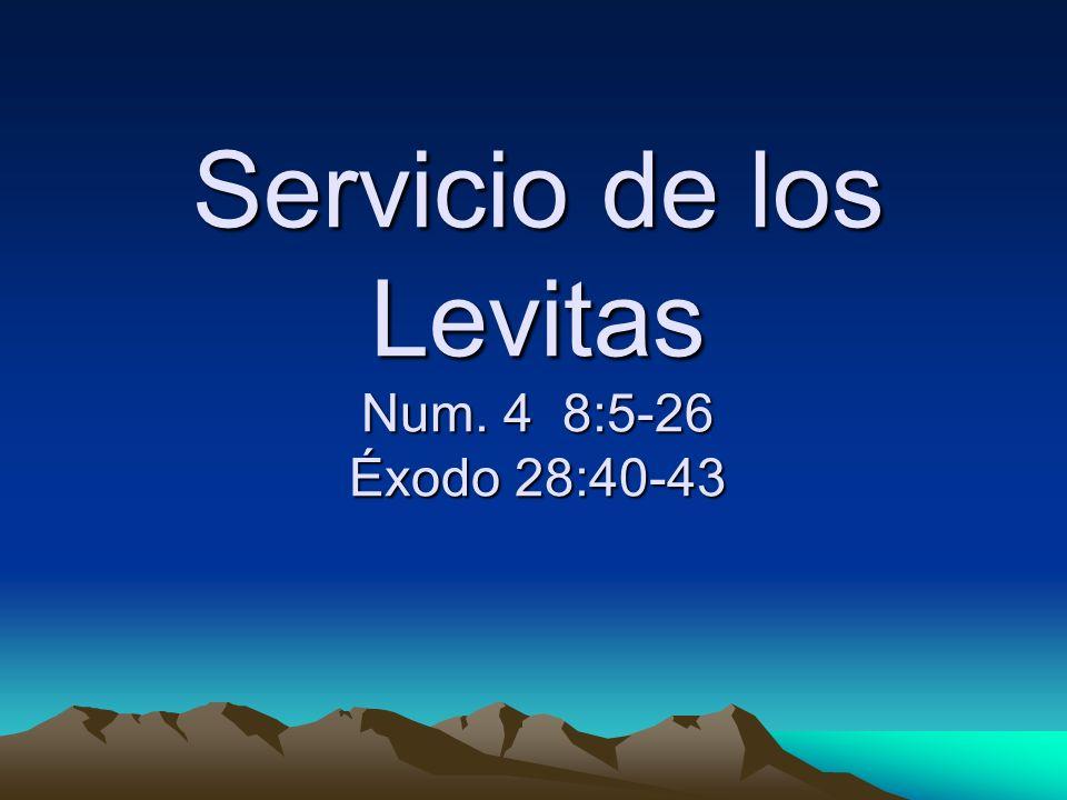 Servicio de los Levitas Num. 4 8:5-26 Éxodo 28:40-43