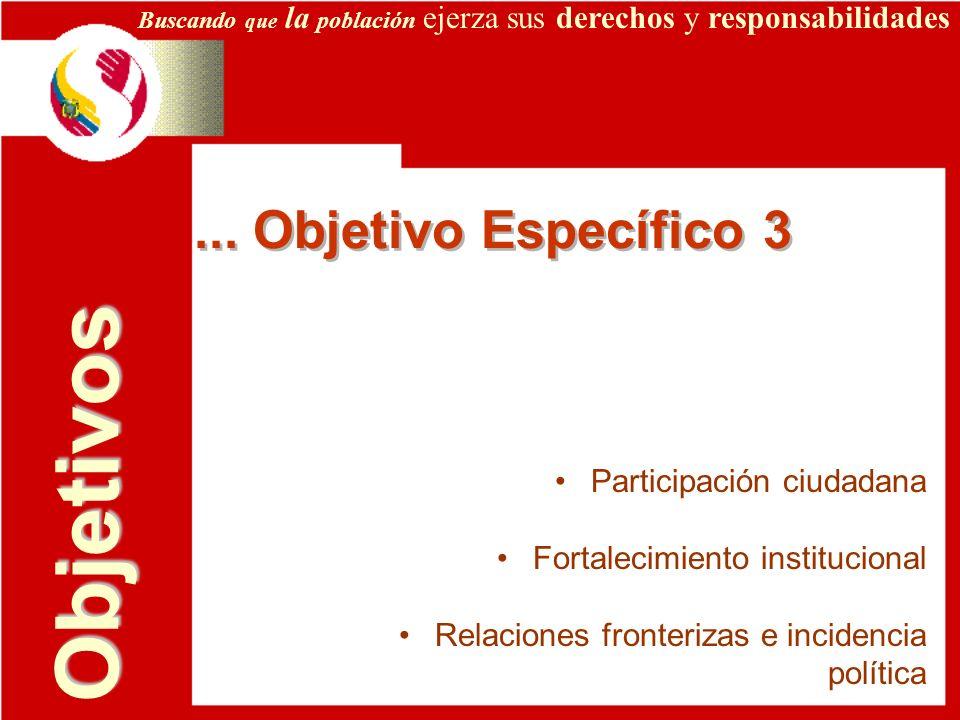 Objetivos ... Objetivo Específico 3 Participación ciudadana