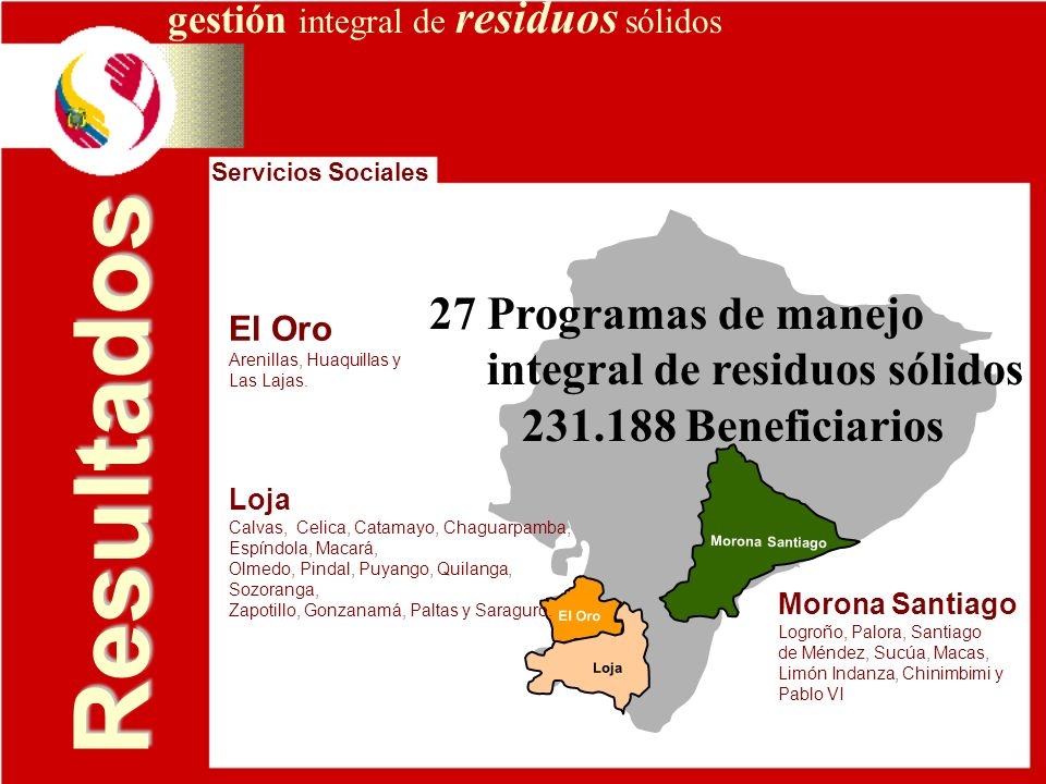 Resultados 27 Programas de manejo integral de residuos sólidos