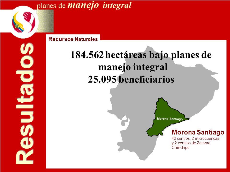 Resultados 184.562 hectáreas bajo planes de manejo integral