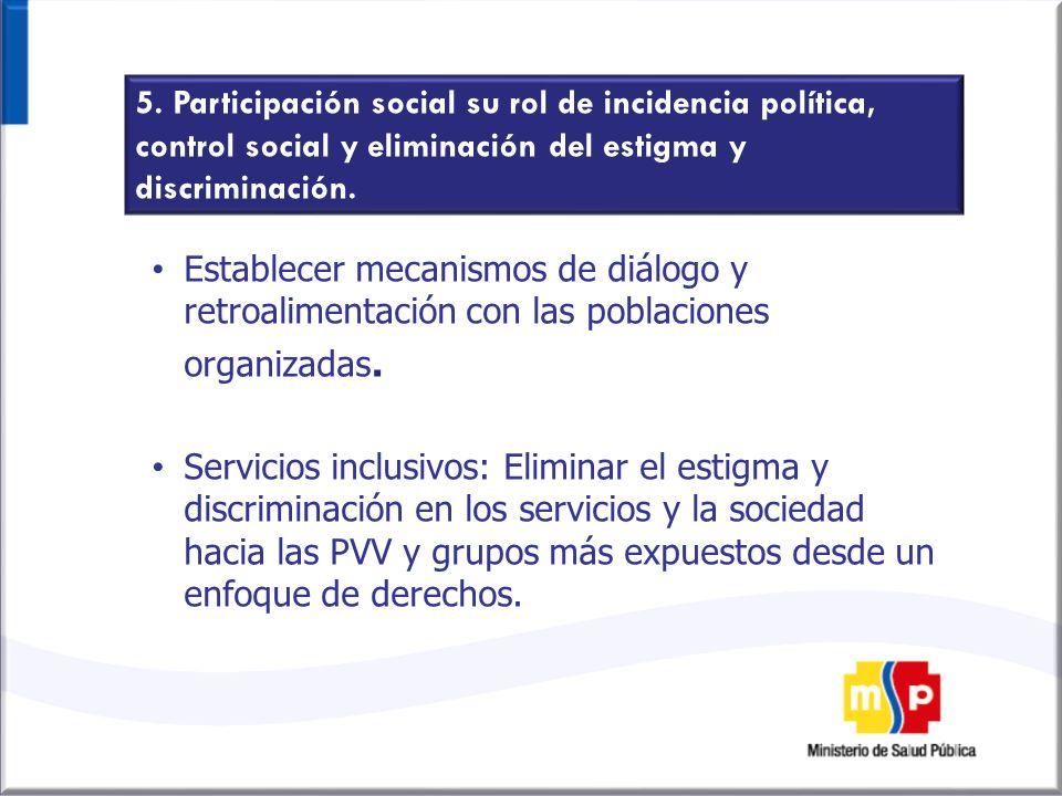 5. Participación social su rol de incidencia política, control social y eliminación del estigma y discriminación.