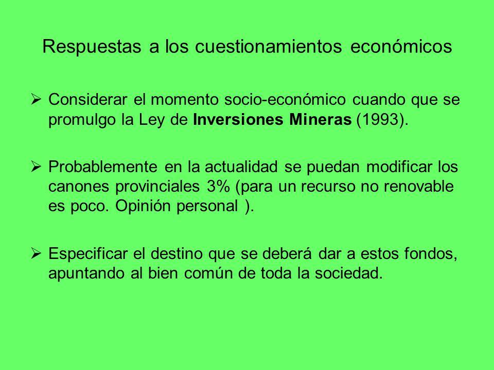 Respuestas a los cuestionamientos económicos