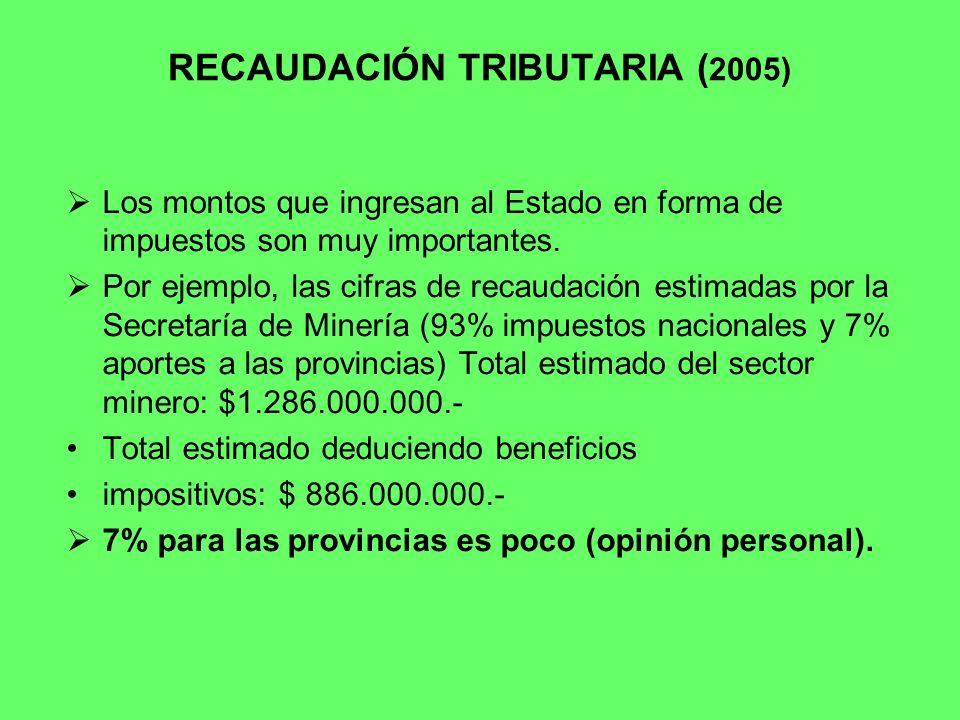 RECAUDACIÓN TRIBUTARIA (2005)