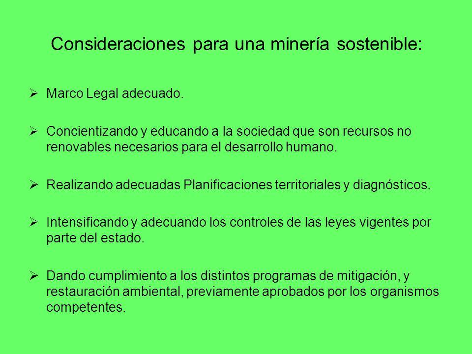 Consideraciones para una minería sostenible: