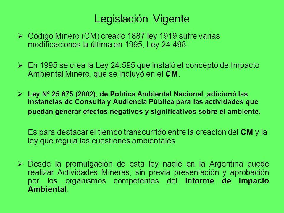 Legislación Vigente Código Minero (CM) creado 1887 ley 1919 sufre varias modificaciones la última en 1995, Ley 24.498.