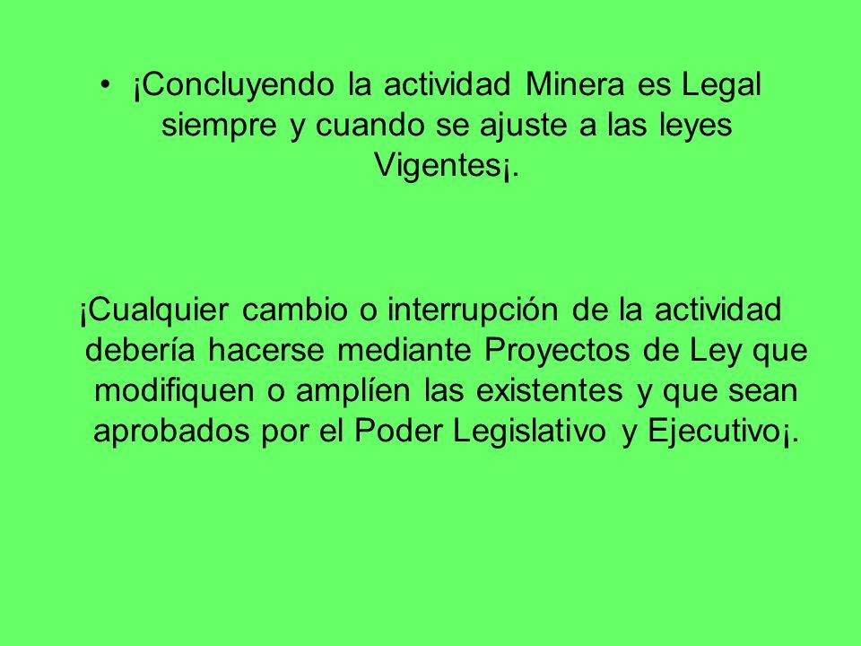 ¡Concluyendo la actividad Minera es Legal siempre y cuando se ajuste a las leyes Vigentes¡.