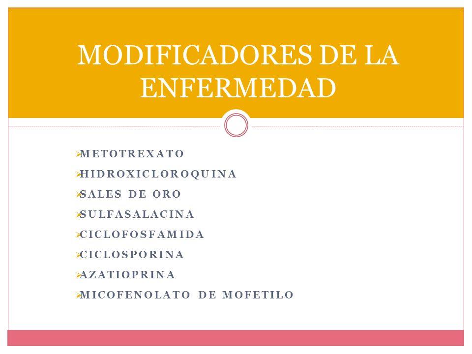MODIFICADORES DE LA ENFERMEDAD