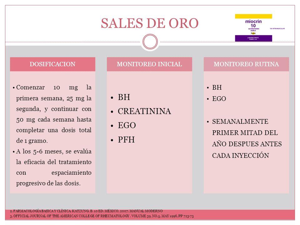SALES DE ORO BH CREATININA EGO PFH