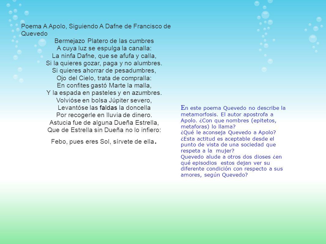 Poema A Apolo, Siguiendo A Dafne de Francisco de Quevedo