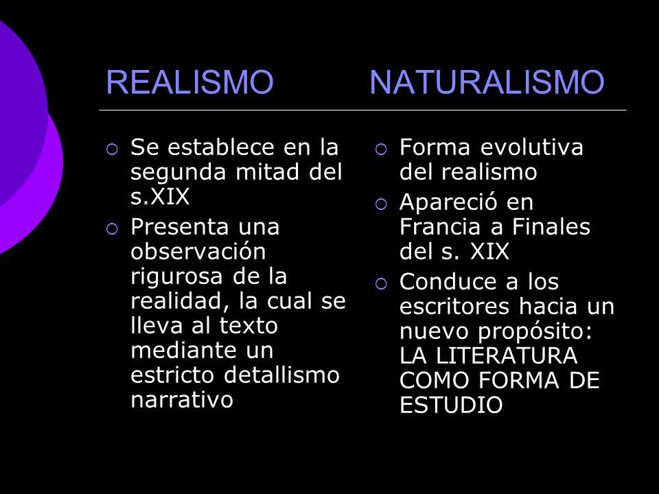 REALISMO NATURALISMO Se establece en la segunda mitad del s.XIX