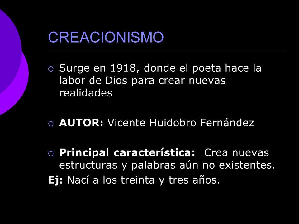 CREACIONISMO Surge en 1918, donde el poeta hace la labor de Dios para crear nuevas realidades. AUTOR: Vicente Huidobro Fernández.