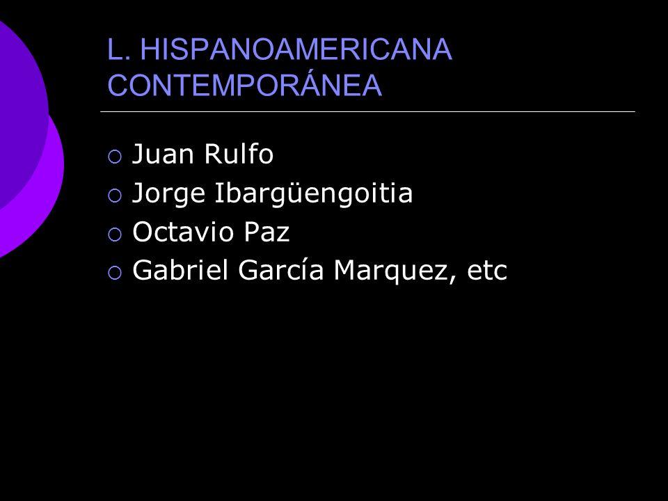 L. HISPANOAMERICANA CONTEMPORÁNEA
