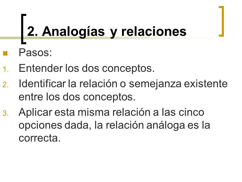 2. Analogías y relaciones