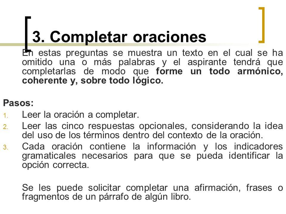 3. Completar oraciones