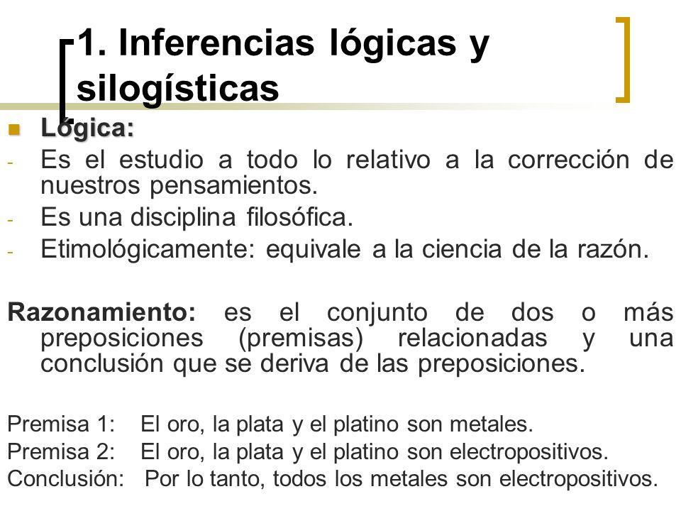 1. Inferencias lógicas y silogísticas