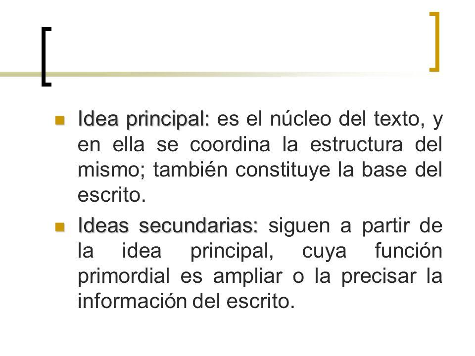Idea principal: es el núcleo del texto, y en ella se coordina la estructura del mismo; también constituye la base del escrito.