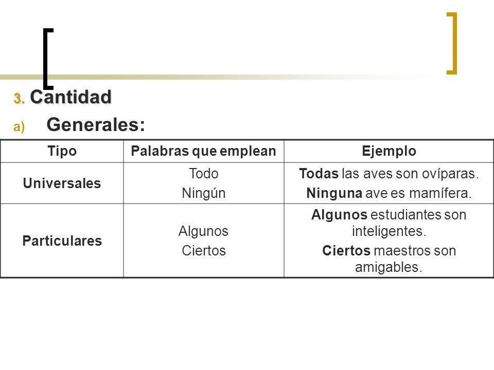 Generales: 3. Cantidad Tipo Palabras que emplean Ejemplo Universales