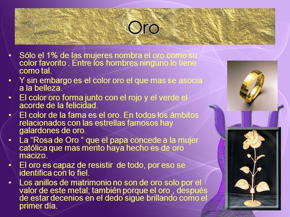 Oro Sólo el 1% de las mujeres nombra el oro como su color favorito . Entre los hombres ninguno lo tiene como tal.