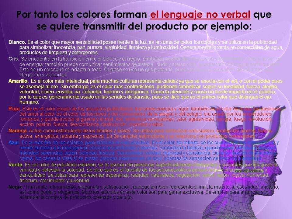 Por tanto los colores forman el lenguaje no verbal que se quiere transmitir del producto por ejemplo:
