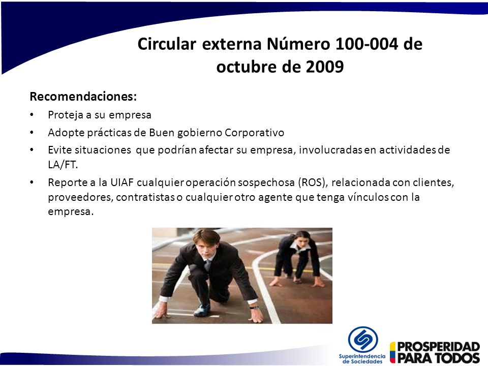 Circular externa Número 100-004 de octubre de 2009