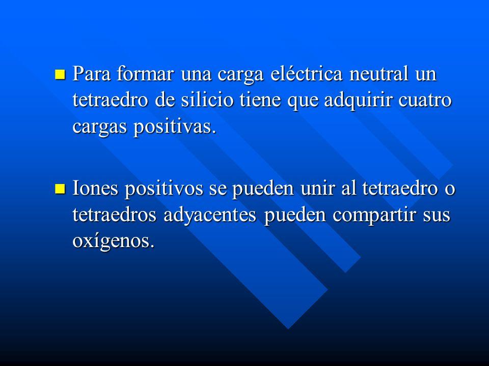 Para formar una carga eléctrica neutral un tetraedro de silicio tiene que adquirir cuatro cargas positivas.