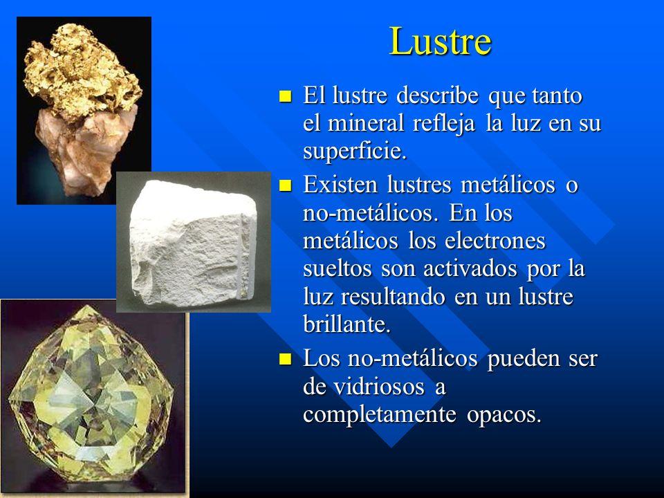 Lustre El lustre describe que tanto el mineral refleja la luz en su superficie.