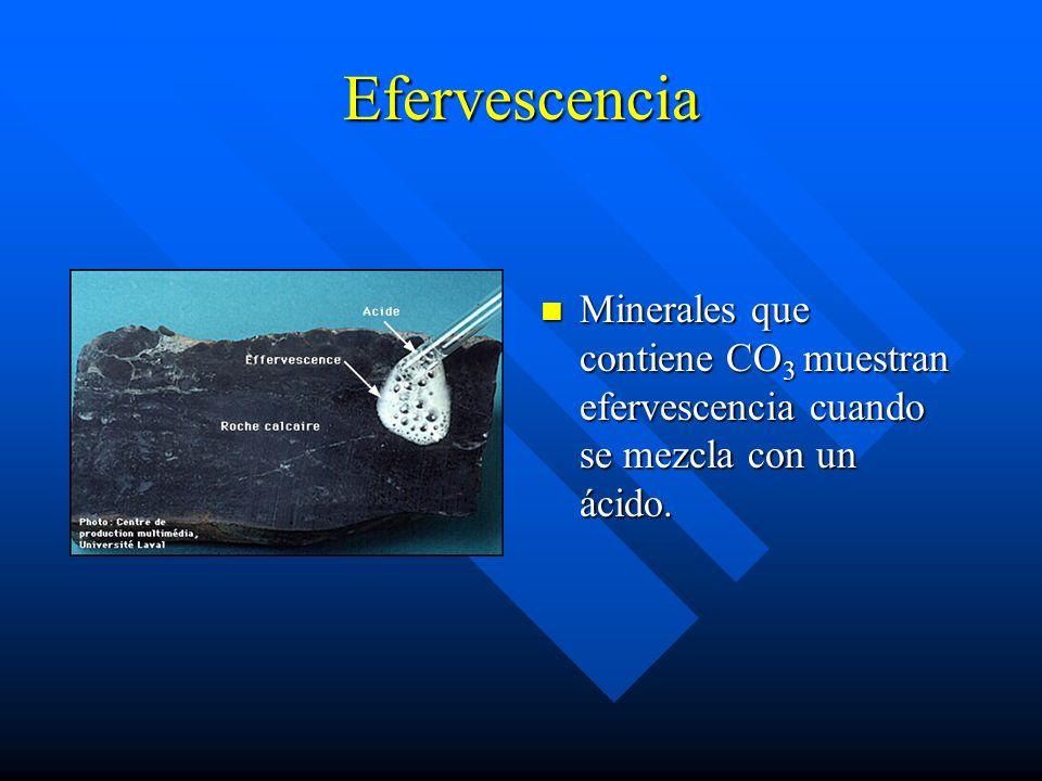 Efervescencia Minerales que contiene CO3 muestran efervescencia cuando se mezcla con un ácido.