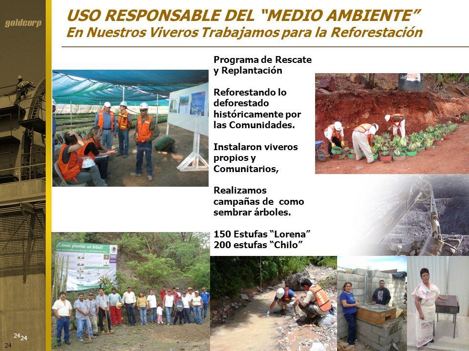 USO RESPONSABLE DEL MEDIO AMBIENTE En Nuestros Viveros Trabajamos para la Reforestación