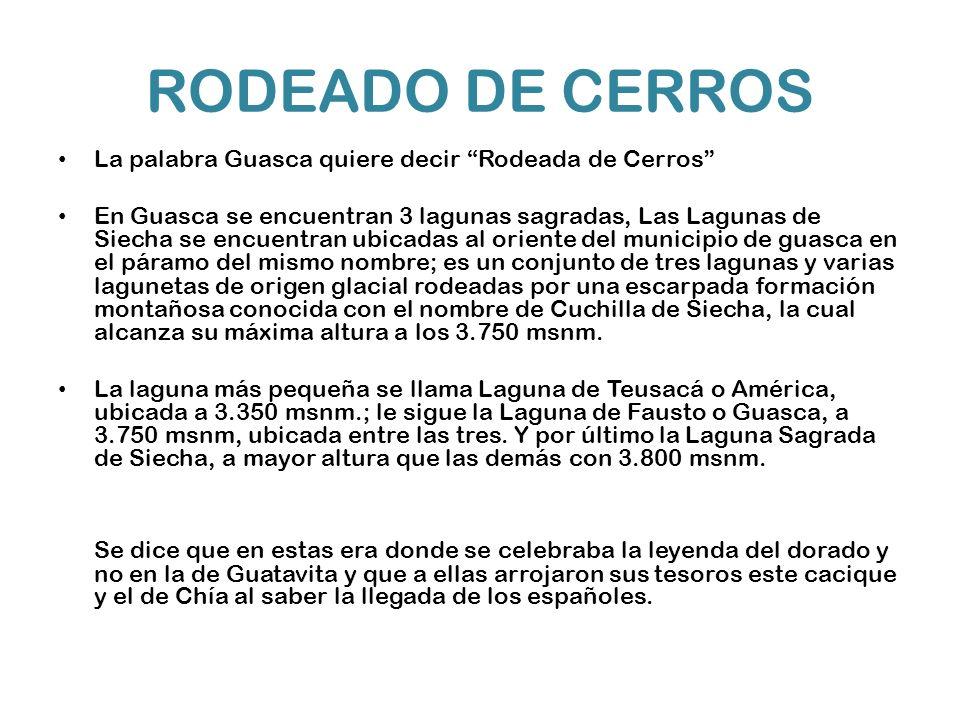RODEADO DE CERROS La palabra Guasca quiere decir Rodeada de Cerros