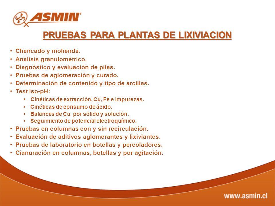 PRUEBAS PARA PLANTAS DE LIXIVIACION