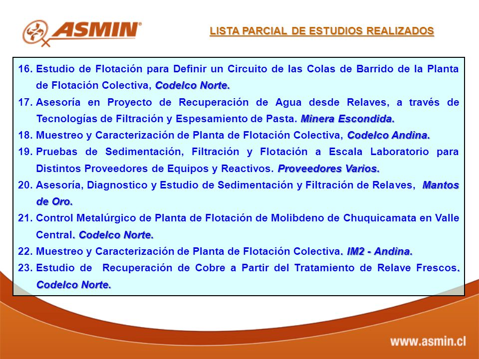 LISTA PARCIAL DE ESTUDIOS REALIZADOS