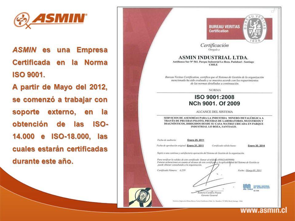ASMIN es una Empresa Certificada en la Norma ISO 9001.