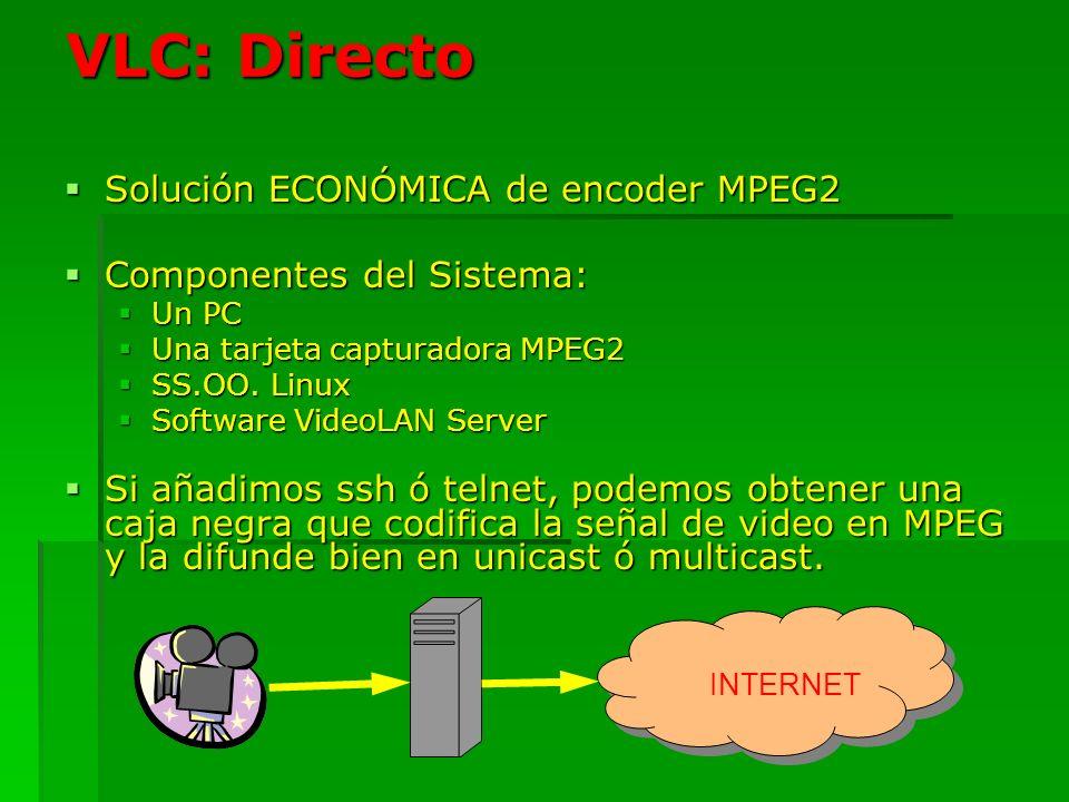 VLC: Directo Solución ECONÓMICA de encoder MPEG2