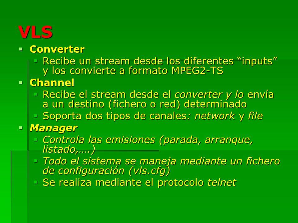 VLSConverter. Recibe un stream desde los diferentes inputs y los convierte a formato MPEG2-TS. Channel.