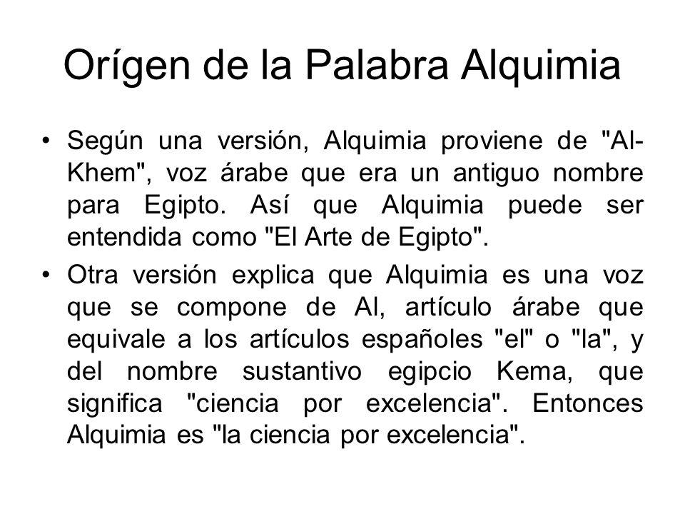 Orígen de la Palabra Alquimia