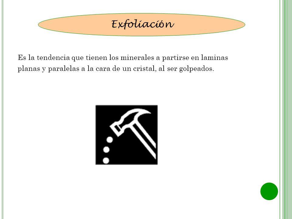Exfoliación Es la tendencia que tienen los minerales a partirse en laminas.