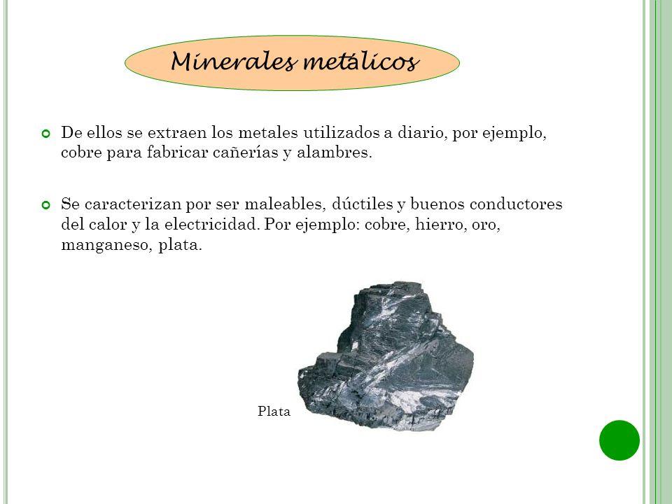 Minerales metálicos De ellos se extraen los metales utilizados a diario, por ejemplo, cobre para fabricar cañerías y alambres.