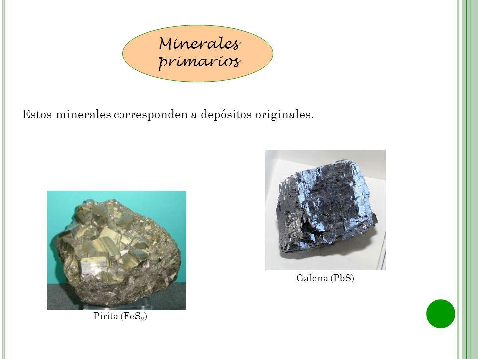 Minerales primarios Estos minerales corresponden a depósitos originales. Galena (PbS) Pirita (FeS2)