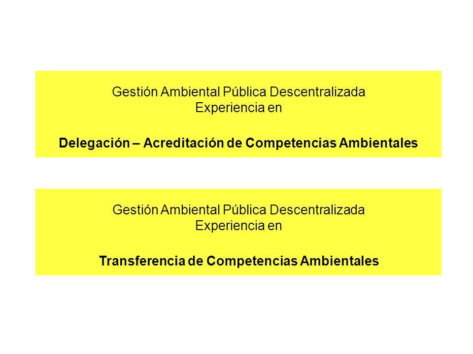 Gestión Ambiental Pública Descentralizada Experiencia en Delegación – Acreditación de Competencias Ambientales