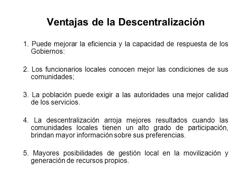 Ventajas de la Descentralización
