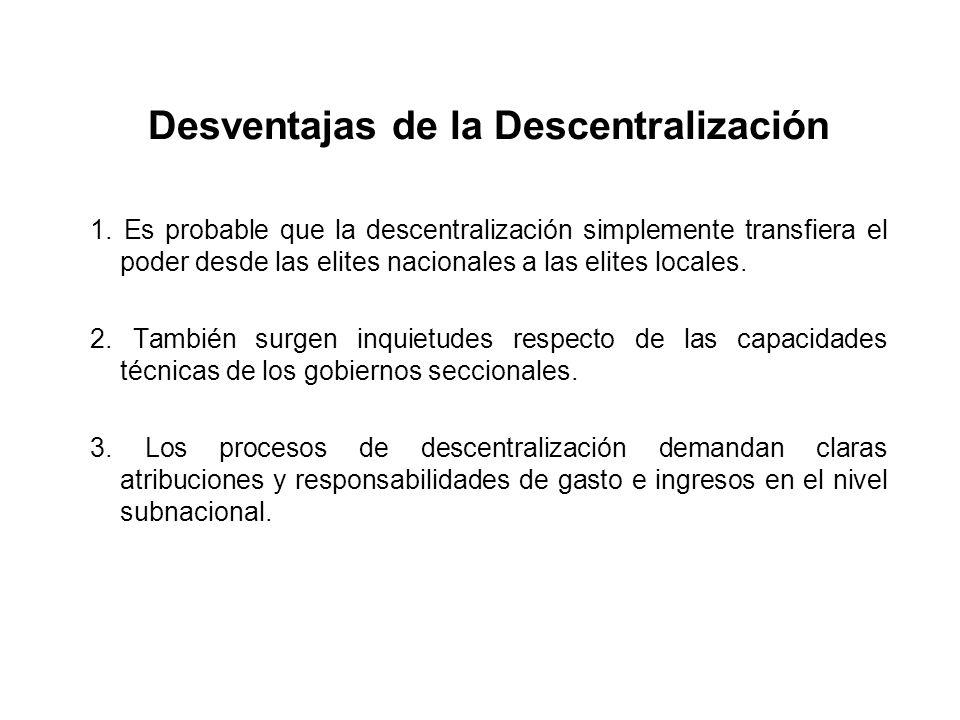 Desventajas de la Descentralización