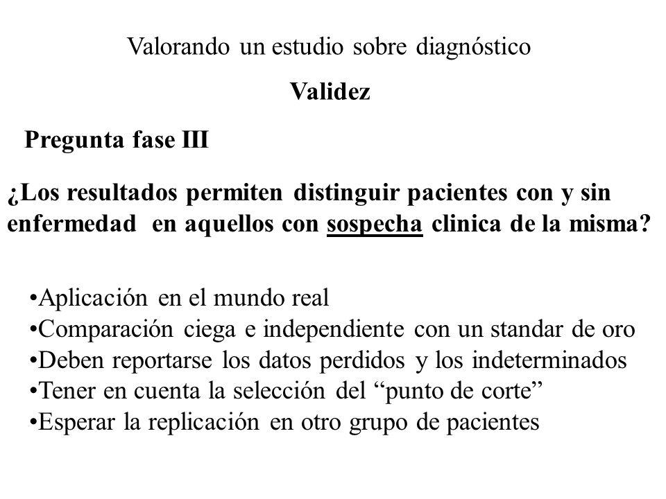 Valorando un estudio sobre diagnóstico